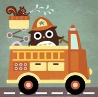 Owl in Firetruck and Squirrel  Fine Art Print