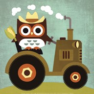 Owl on Tractor  Fine Art Print