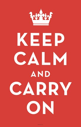 Framed Keep Calm and Carry On (Red) Print