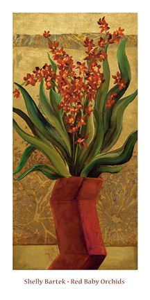Framed Red Baby Orchids Print