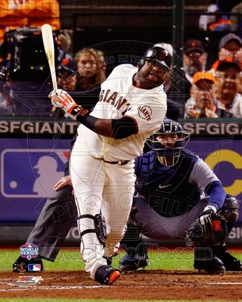Framed Pablo Sandoval Solo Home Run 5th Inning Game 1 of the 2012 MLB World Series Action Print