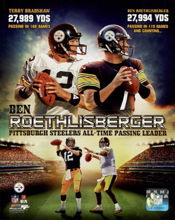 Framed Ben Roethlisberger Pittsburgh Steelers All-time Passing Leader Composite Print