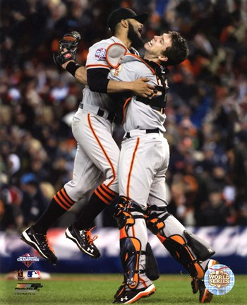 Framed Buster Posey & Sergio Romo Celebrate Winning Game 4 of the 2012 World Series Print