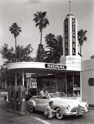 Framed Gas Station, 1950 Print