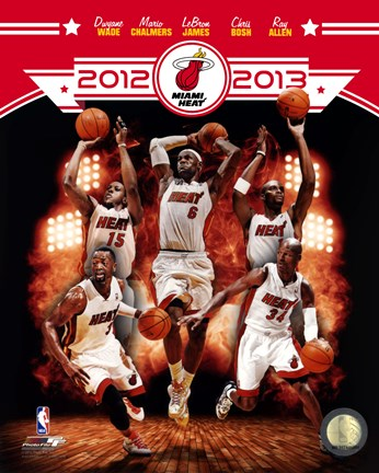 Framed Miami Heat 2012-13 Team Composite Print