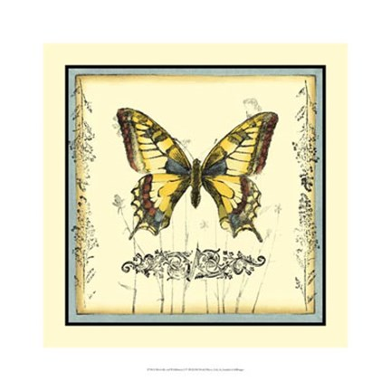 Framed Butterfly and Wildflowers I Print