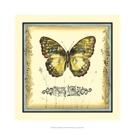 Framed Butterfly and Wildflowers II Print