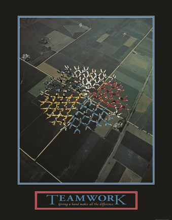 Framed Teamwork-Skydivers Print
