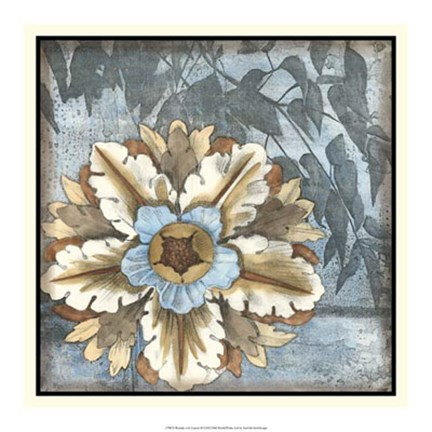 Framed Rosette with Leaves II Print