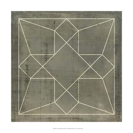 Framed Geometric Blueprint IX Print