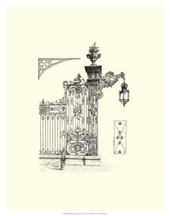 Framed B&W Wrought Iron Gate IV Print