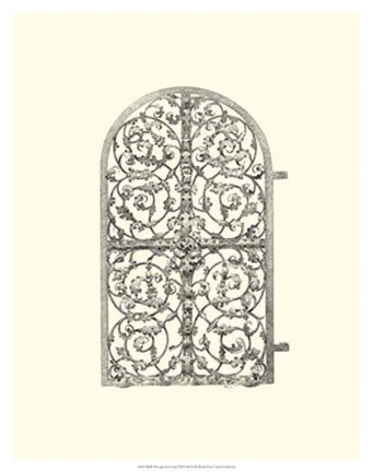 Framed B&W Wrought Iron Gate VII Print