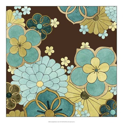 Framed Cascading Blooms in Teal I Print