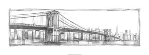 Framed Brooklyn Bridge Sketch Print
