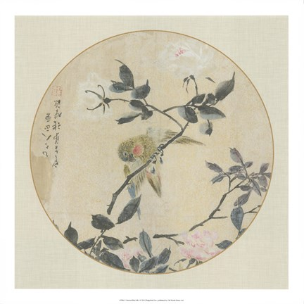 Framed Oriental Bird Silk I Print