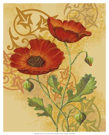 Framed Poppies on Gold I Print