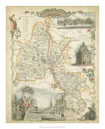 Framed Map of Oxfordshire Print