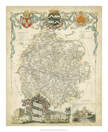 Framed Map of Herefordshire Print