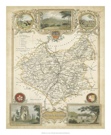 Framed Map of Leicestershire Print