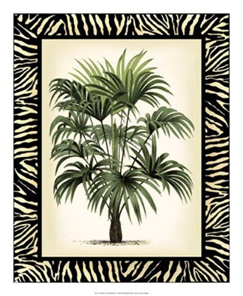 Framed Palm in Zebra Border I Print