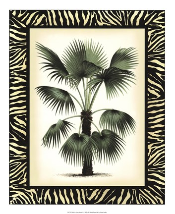 Framed Palm in Zebra Border II Print