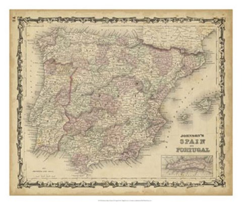 Framed Johnson's Map of Spain & Portugal Print