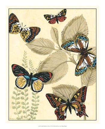 Framed Graphic Butterflies in Nature I Print