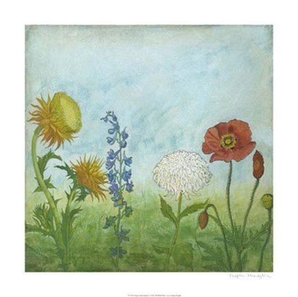 Framed Antique Floral Meadow I Print