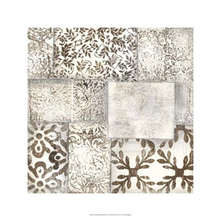 Framed Neutral Patterned Patchwork II Print
