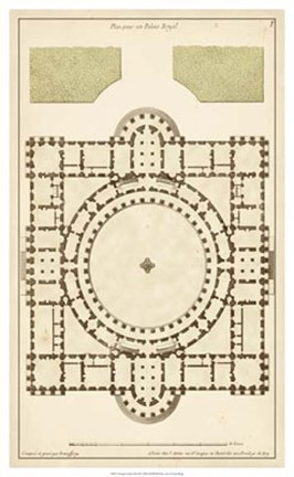 Framed Antique Garden Plan III Print