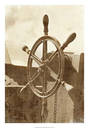 Framed Sepia Ship's Wheel I Print
