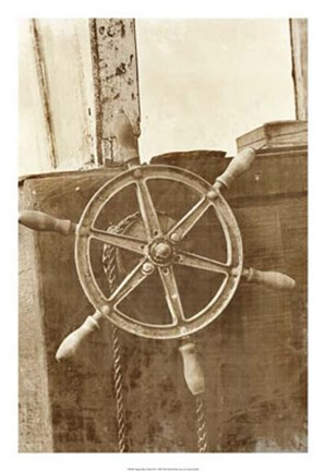 Framed Sepia Ship's Wheel II Print