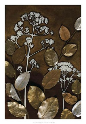 Framed Gilded Leaf Collage II Print