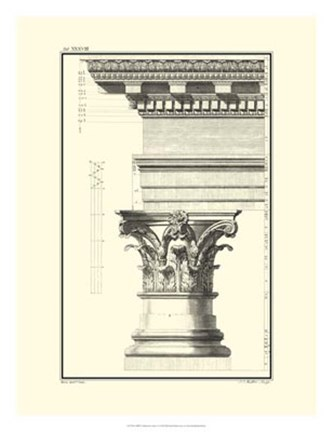 Framed B&W Column and Cornice I Print