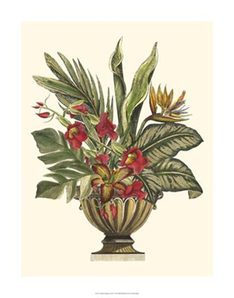 Framed Tropical Foliage in Urn II Print