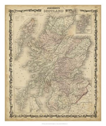 Framed Johnson's Map of Scotland Print
