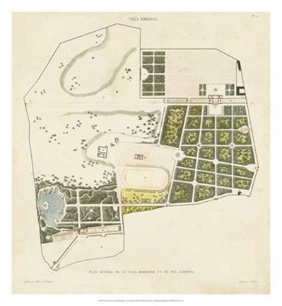 Framed Plan General de la Villa Borghese Print
