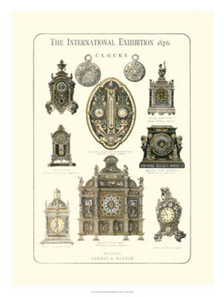 Framed Clocks 1876 Print