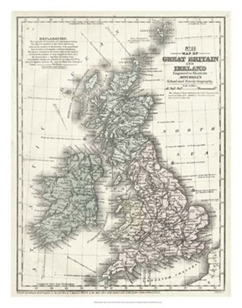 Framed Mitchell's Map of Great Britain & Ireland Print