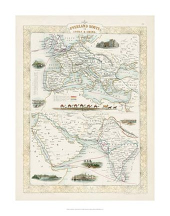 Framed Overland Routes- India & China Print