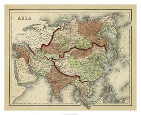 Framed Antique Map of Asia Print