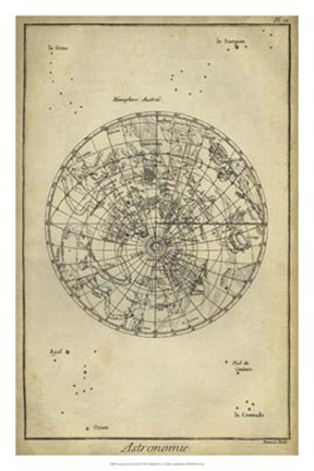 Framed Antique Astronomy Chart II Print
