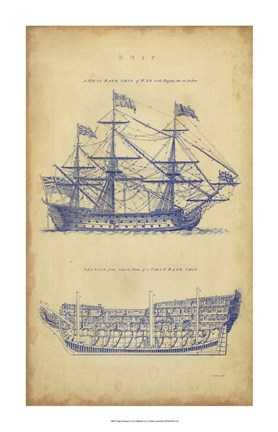 Framed Vintage Ship Blueprint Print