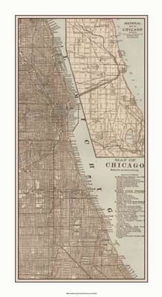 Framed Tinted Map of Chicago Print