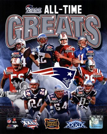 Framed New England Patriots All Time Greats Composite Print