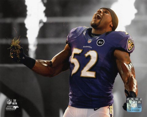 Framed Ray Lewis 2012 Spotlight Action Print