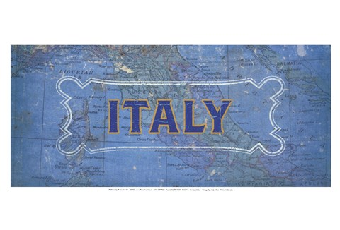 Framed Vintage Sign - Italy Print