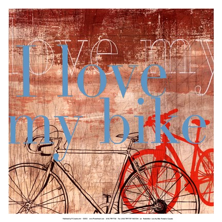 Framed Love my Bike - Mini Print