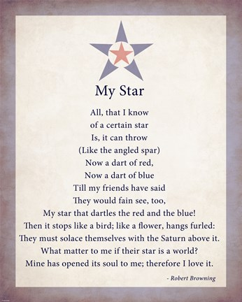 Framed My Star by Robert Browning - color boarder Print