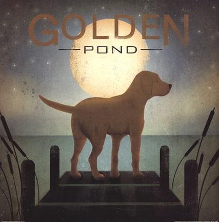 Framed Moonrise Yellow Dog - Golden Pond Print